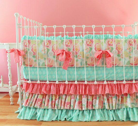 Mint Baby Bedding Mosaic Rose Crib Bedding Set by LottieDaBaby