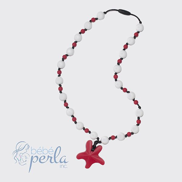 Silicone teething necklace - Starlight Arielle Red www.bebeperla.com