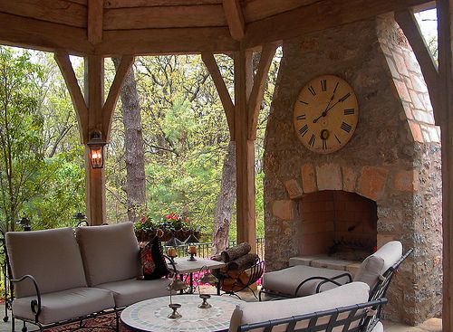 Outdoor fireplace featured in a Jack Arnold project built with six shooter natural stone including the addition of a slush and brush feature.   {Watch this | Check this out | Look at this | This is butyful | Awesome stuff