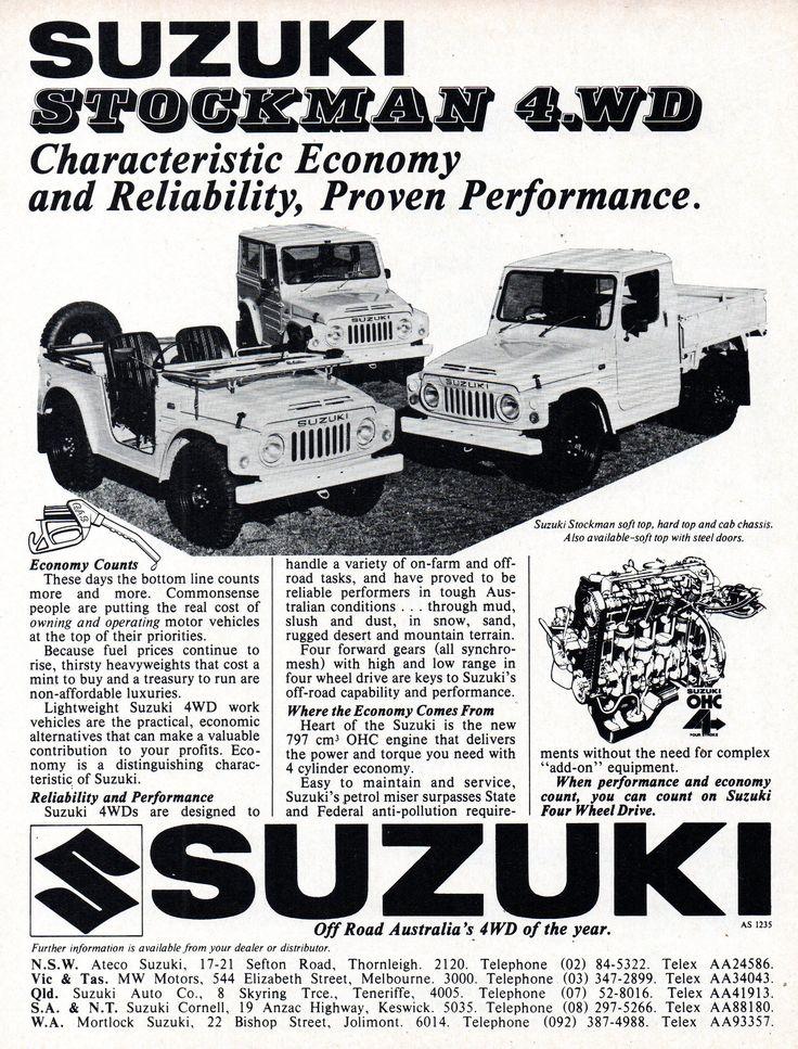 https://flic.kr/p/24VEzYv | 1979 Suzuki Stockman 4WD Range Soft Top Hard Top & Cab Chassis LJ81 Aussie Original Magazine Advertisement