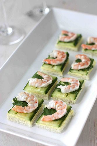 Shrimp, Cucumber & Curry Cream Cheese Canapes Recipe  [I think this might also need a shave of carrot, spinach, alfalfa sprouts, sesame seeds (and/or all - will have to experiment)]