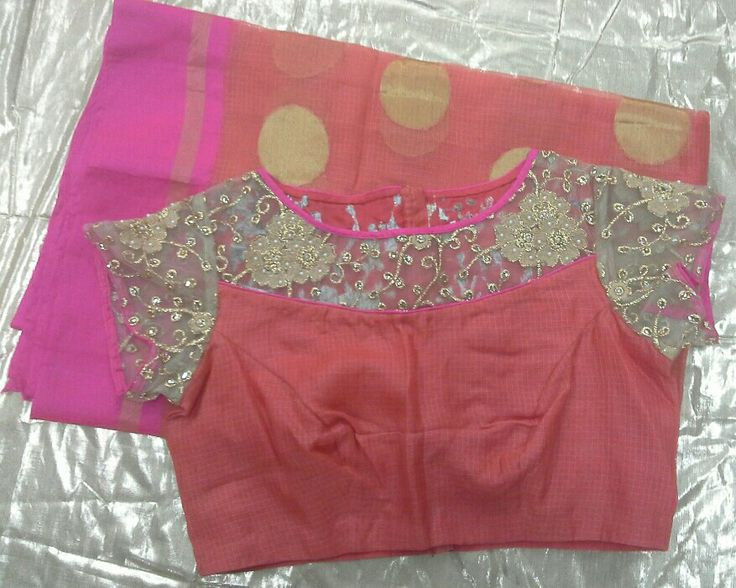 Kota saree with boat neck with gold and pearls work 7702919644