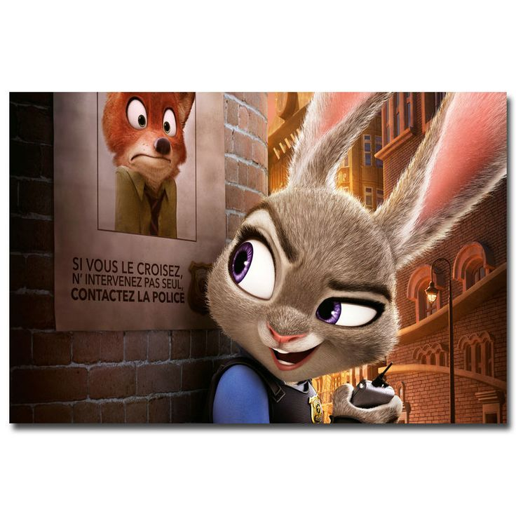 Zootopia Movie Poster Judy Hopps Nick Wilde #PopArt