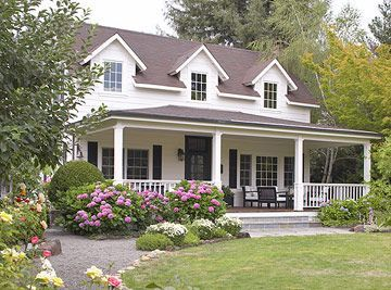 Large wrap around porch cape cod landscaping dehors for House plans with large front and back porches