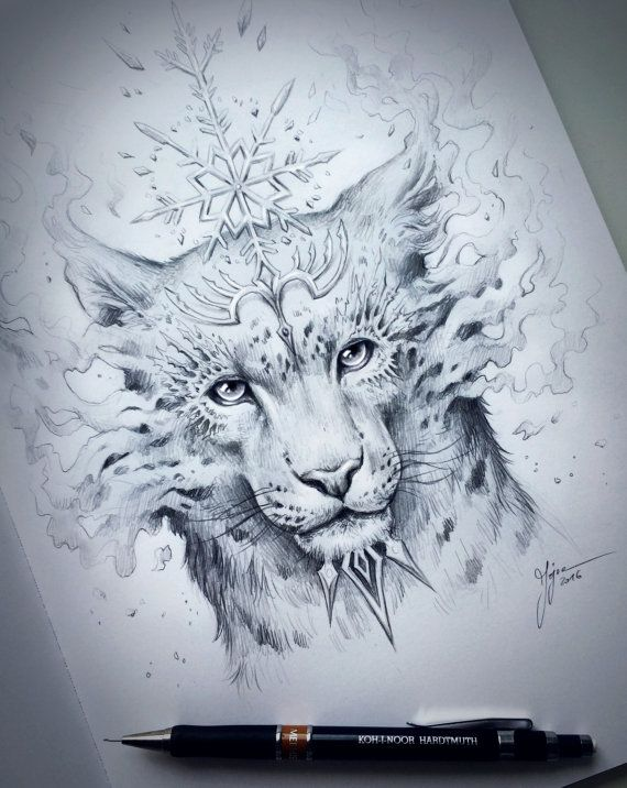 Snow Leopard Spirit  Original Drawing  Fantasy Pencil by JoJoesArt