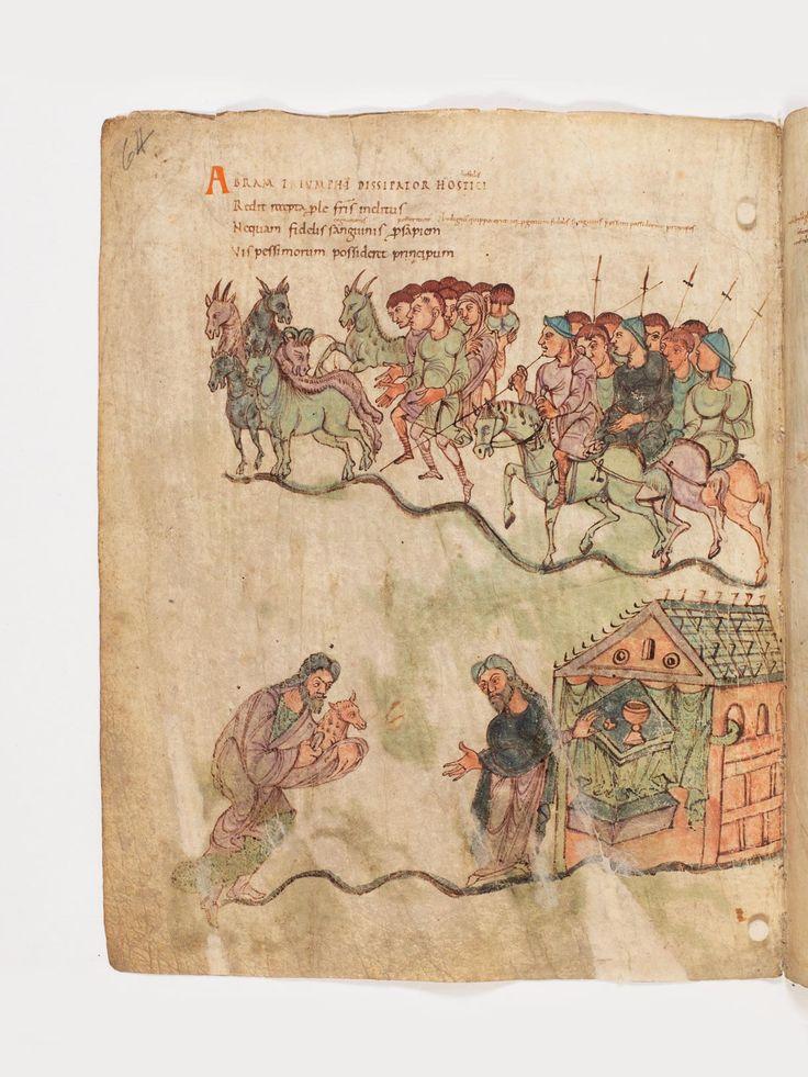 Abraham kehrt siegreich mit dem befreiten Lot heim (oben), Abraham und Melchisedek (unten), Prudentius: Carmina, ca. 900, Burgerbibliothek Bern Cod. 264, f64