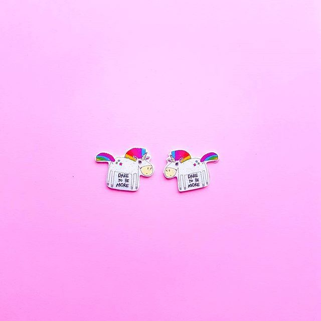 Unicorns make great companions, very loyal and make they everyday magical 🦄  Adopt some tiny ones in earring form from lumiwau.com 💕 #lumiwau #unicornpower