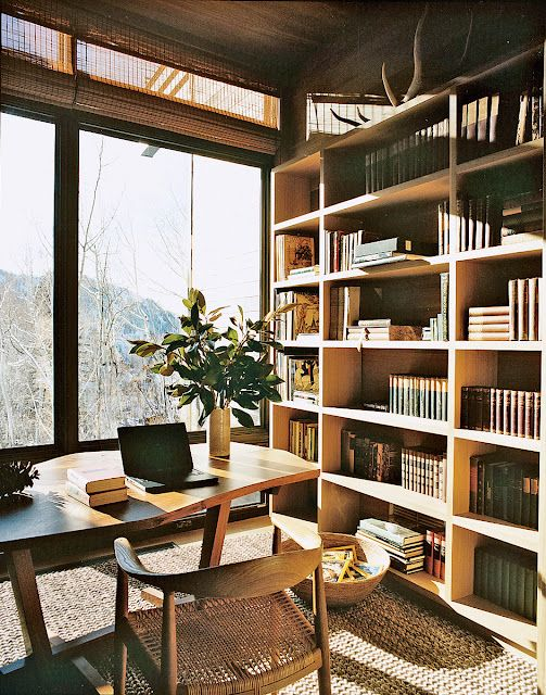 View, Wegner chair, bookshelves, texture.