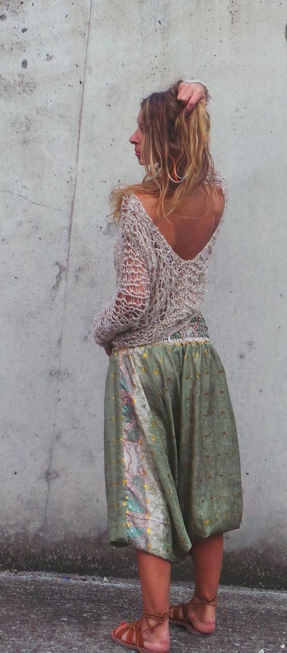 Top maglia allentata v.neck beige backless maglia donna boho