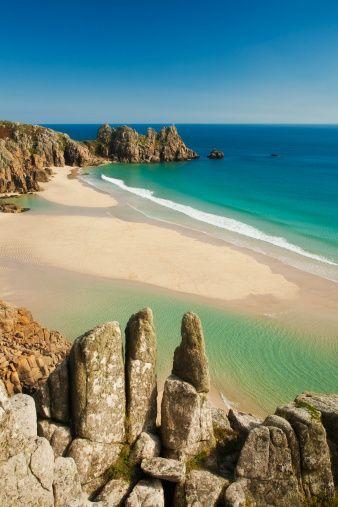 Best beaches: Logan Rock, Porthcurno, Cornwall