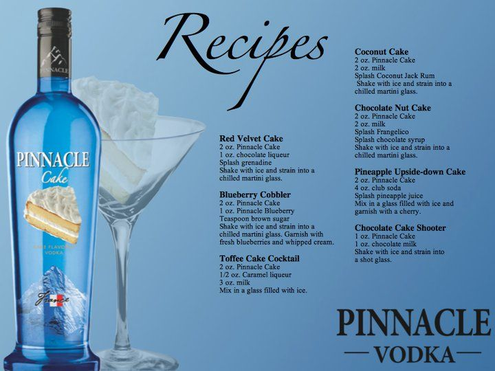 Pinnacle Cake Vodka Recipes ~Now you can have your cake and drink it too!