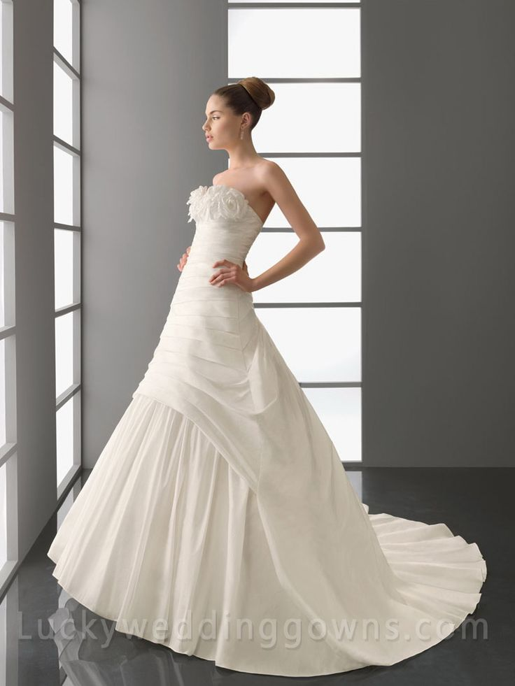 Modest Cathedral Train Draped Bridal Wedding Gown with 3D Flowers