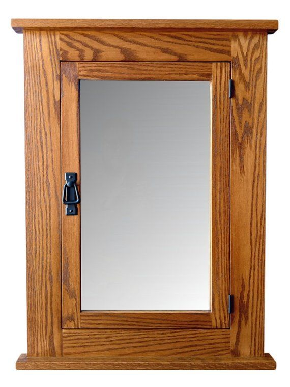 24w X 33h Solid Oak Mission Recessed Medicine Cabinet Solid Wood Handmade Recessed Medicine Cabinet Solid Oak Light Oak