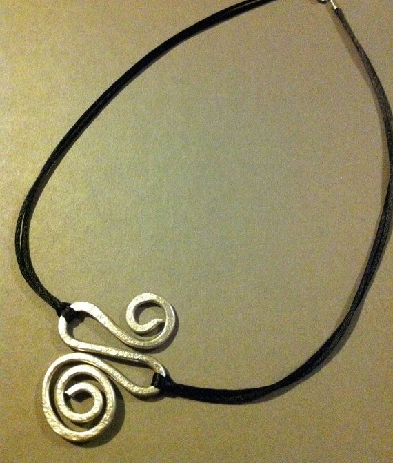10 guage wire necklace with satin cord