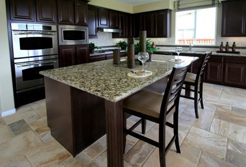 Granite Countertop With Overhang Supported On Each End By