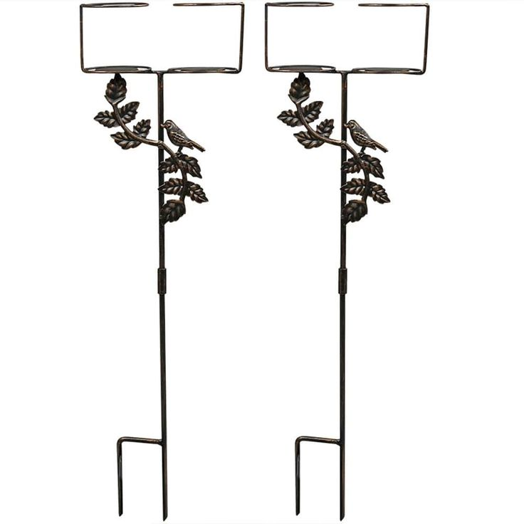 Sunnydaze Outdoor Drink Holders with Decorative Accents (4 single drink holders), Bronze (Steel), Outdoor Décor