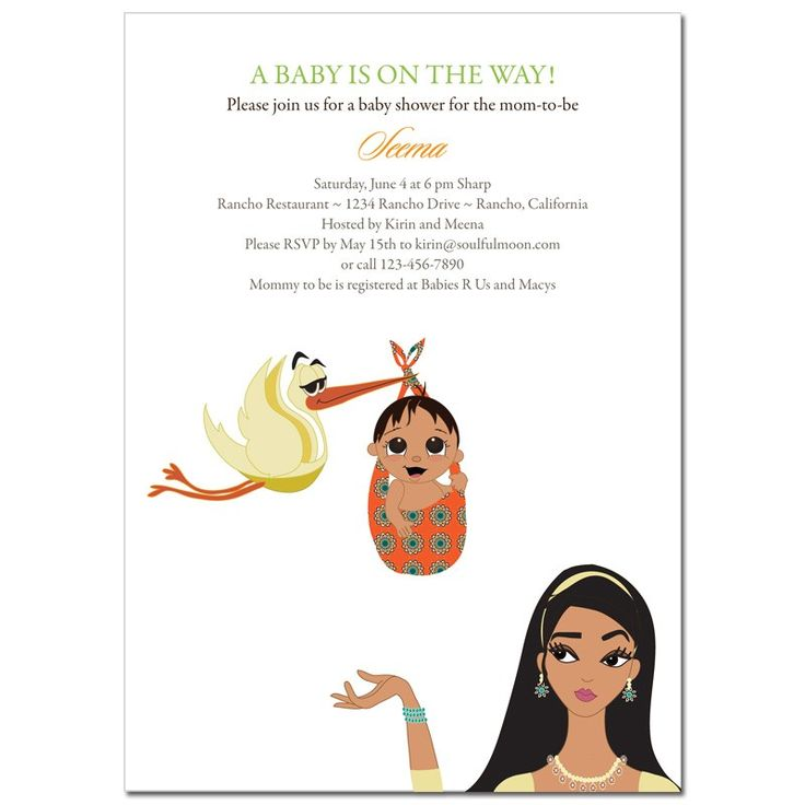 Unique Indian Baby Shower Invitations from #Soulfulmoon- Mommy and Stork