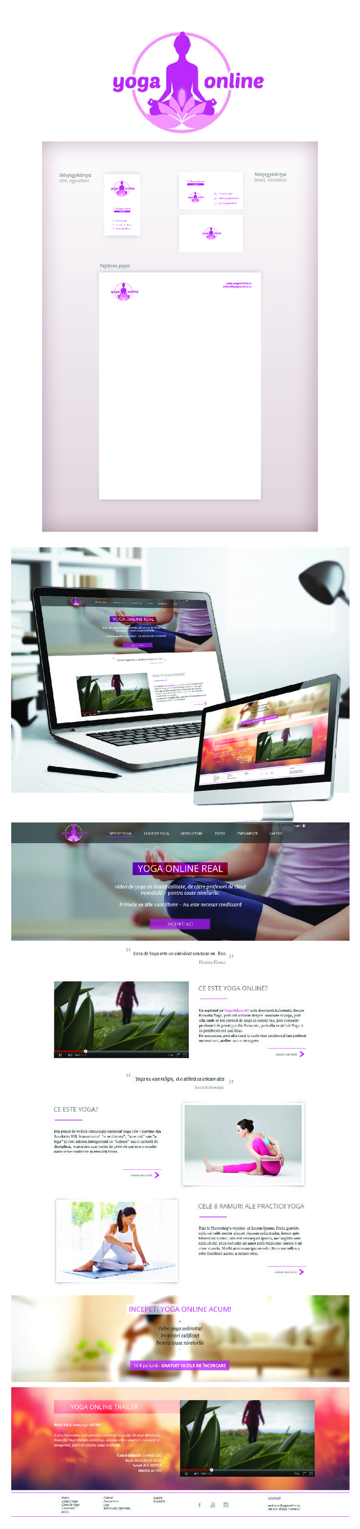 Logo - Business card - Header - Website design - Yoga Online, Romania #1 online yoga community