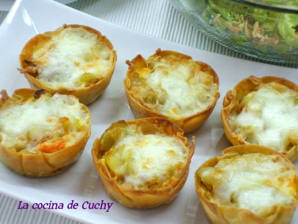 Mini-quichés de chorizo y tortilla de patata