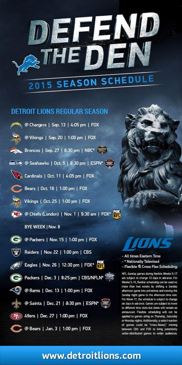 Detroit Lions 2015 schedule!!