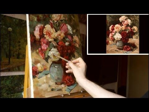 """Розовые пионы"". Живопись маслом. Process of creating oil painting. Oil painting demonstration. - YouTube"