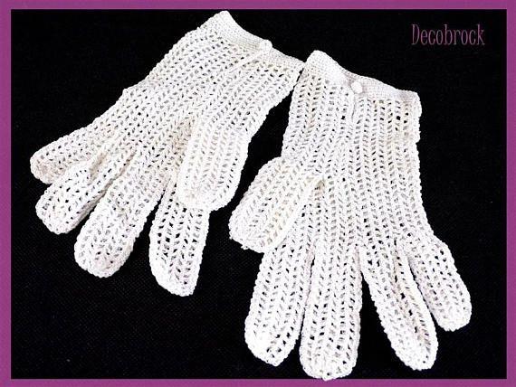 Paire de gants vintage en maille de coton fait main blanc vintage France vintagefr mariage communion