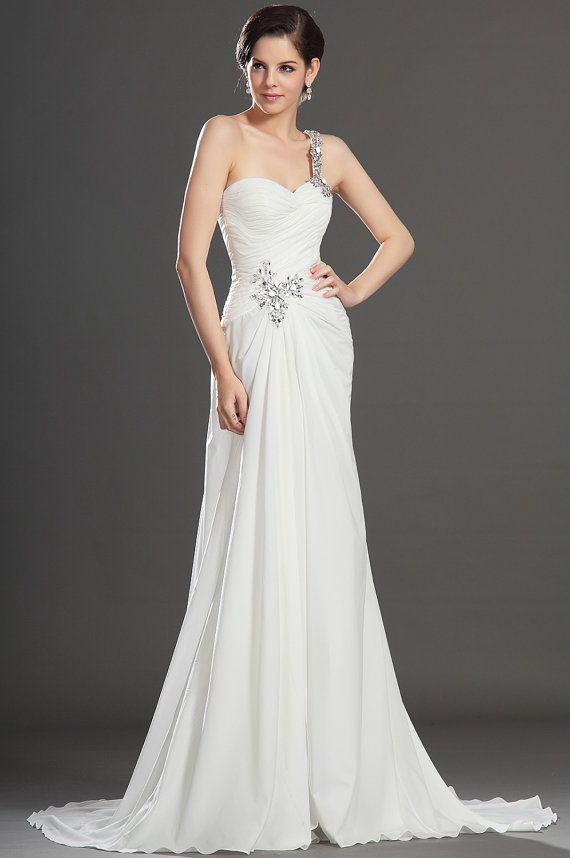 Great White chiffon beading wedding dress bridal one shoulder wedding gown long wedding dresses ball gown evening dress