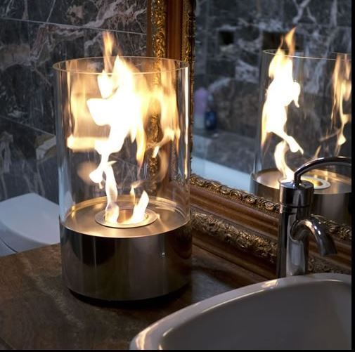 Glass Fireplace Tabletop Hurricane Lamp Ethanol Candle