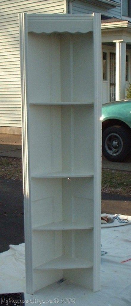 Epic repurposed door into a corner shelf