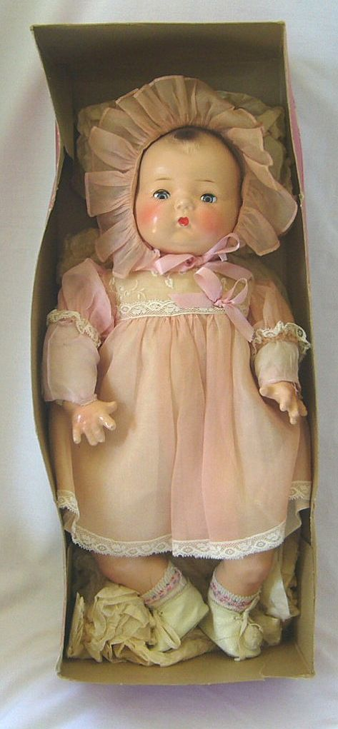 Horsman Composition Baby Doll in Original Costume and Box. Isn't she pretty!