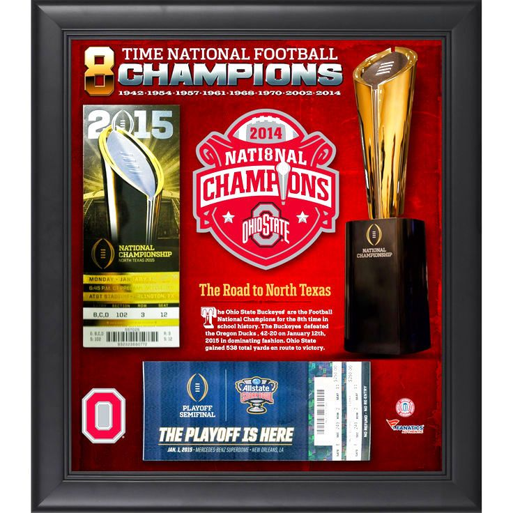 "Ohio State Buckeyes Fanatics Authentic Framed 15"" x 17"" 2014 College Football Playoff National Champions Ticket Collage - $39.99"