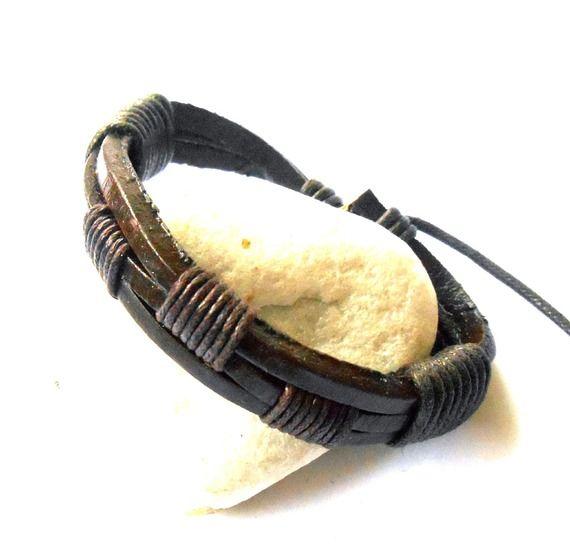 Bracelet cuir marron foncé entouré de chanvre entrelacé pour homme réglable