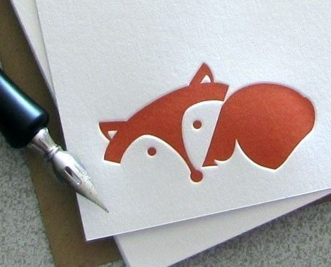Fox Note Card Set - Fox Letterpress Stationery Set - Laying Fox, Autumn, Fall, Red, Rust Orange - 10 pack (NLF1). $18.00, via Etsy.