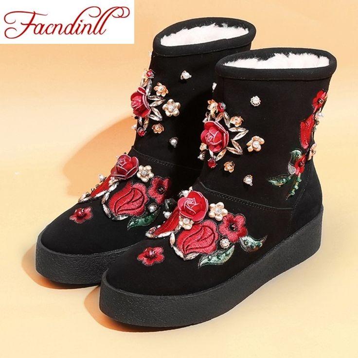 Новый дизайн моды китайский стиль женщины зима снег сапоги с плоским пятки платформы повседневная обувь женская теплые ботильоны черные туфли женщина купить на AliExpress