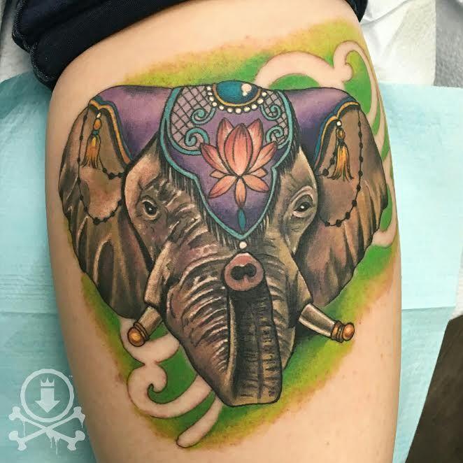 Super rad circus elephant tattoo by Meghan Patrick.  #12ozstudios #team12oz #tattoo #tattoos #tattooed #tattooart #tattooartist #circus #circuselephant #elephanttattoo #animaltattoos #tattoosformen #tattoosforwomen