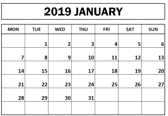 Template Of January 2019 Blank Calendar With Images Blank