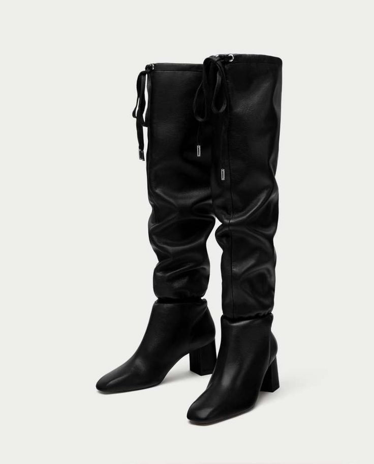 Gathered detail leather high heel boots | Zara 2018