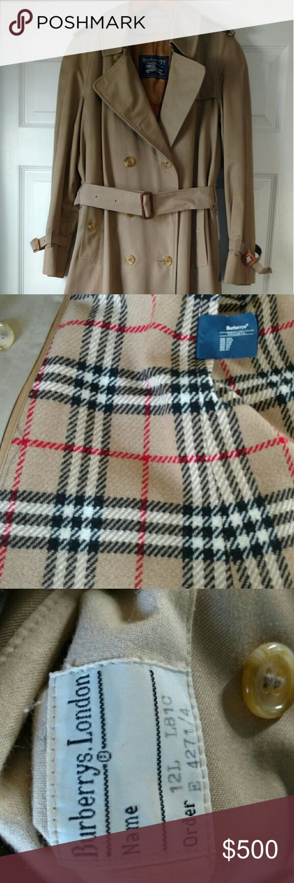 VINTAGE BURBERRY TRENCH COAT Mint condition double breasted khaki trench coat. Comes with zip out lining, epaulettes on shoulders, cuff straps and belt. Burberry Jackets & Coats Trench Coats