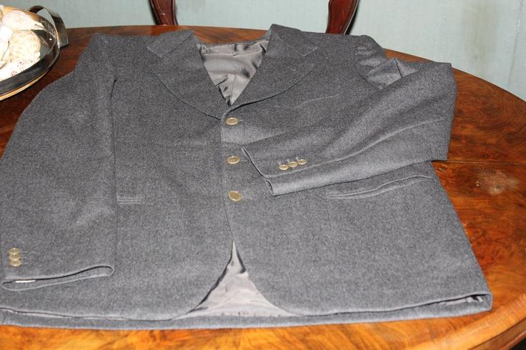 single-breasted worsted wool dark grey