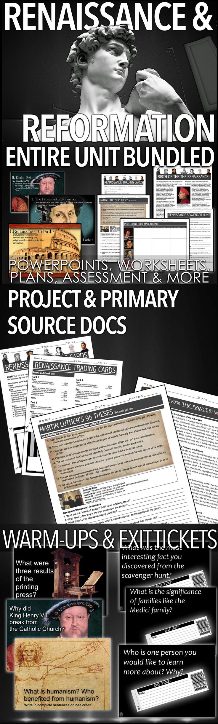 Renaissance and Reformation Unit PPTs Worksheets