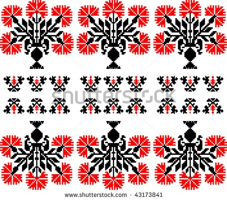 Vector Fantasy Seamless russian traditional pattern, Embroidery, ornament, pattern by Icons Jewelry, via ShutterStock