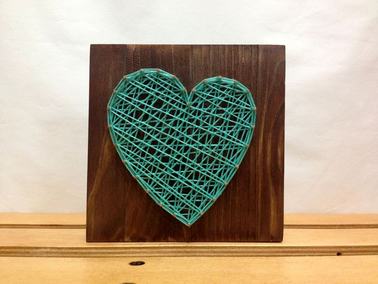 String Art Heart Sign Turquoise / Celadon Wall Art от OneRoots