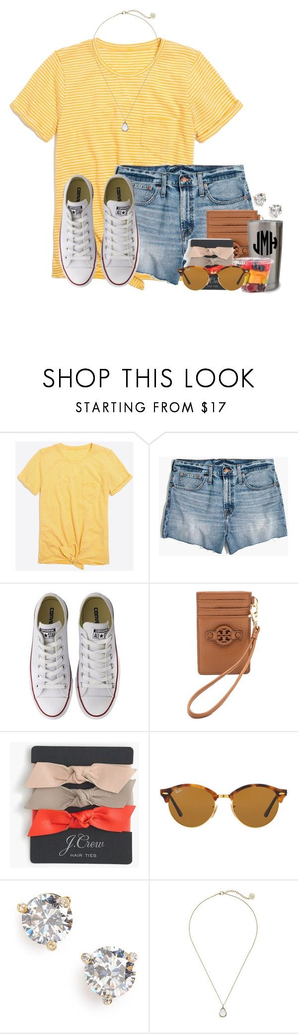 """Going to go see Golden Retriever dogs☁️"" by flroasburn ❤ liked on Polyvore featuring J.Crew, Madewell, Converse, Tory Burch, Ray-Ban, Kate Spade and Kendra Scott"