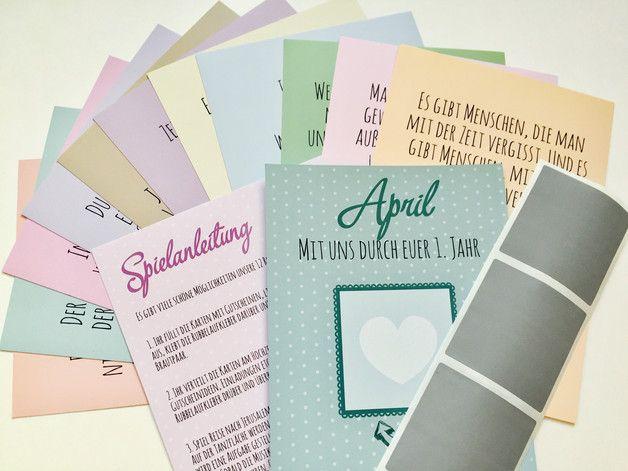**Jeden Monat eine tolle Überraschung für das Brautpaar,...**  Zauberhaftes Spiel zur Hochzeitsfeier  Ihr erhaltet 12 liebevoll gestaltete Karten, welche ihr selbst mit Aufgaben, Gutscheinen...