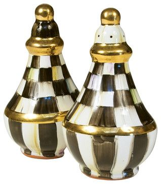 Courtly Check Salt & Pepper Shaker Set | MacKenzie-Childs eclectic serving utensils