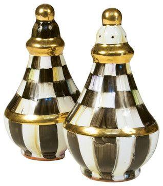 Courtly Check Salt & Pepper Shaker Set | MacKenzie-Childs eclectic serving utensils