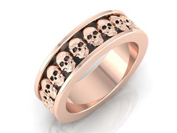 His and Hers Skull Wedding Band Set 2 Rings 14 KT Rose Gold