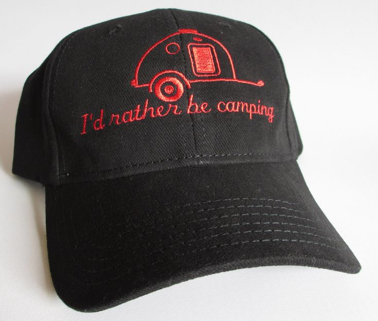 """Custom embroidered hats / caps, """"I'd rather be camping""""  with Teardrop Trailer by CreativeSenseCom on Etsy"""