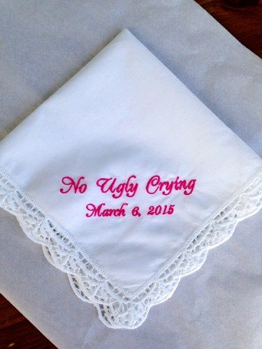 LOL funny wedding gift! Custom Embroidered NO UGLY CRYING Wedding Handkerchief for Attendants | annamaedesigns - Wedding on ArtFire