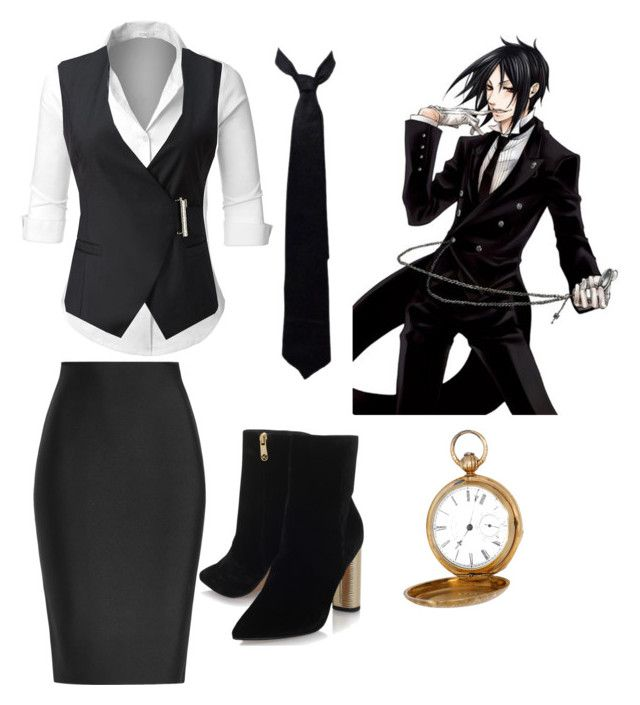 """""""Sebastian from Black Butler inspired"""" by hateful-garbage ❤ liked on Polyvore featuring LE3NO, Roland Mouret, KG Kurt Geiger, Vintage, Sebastian Professional and Balenciaga"""